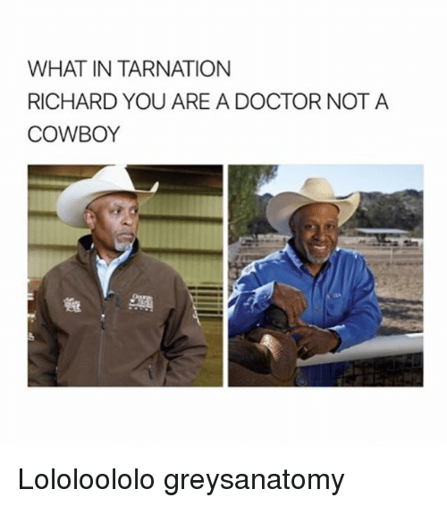 Doctor, Memes, and Cowboy: WHAT IN TARNATION  RICHARD YOU ARE A DOCTOR NOT A  COWBOY  A  OR NOT A Lololoololo greysanatomy