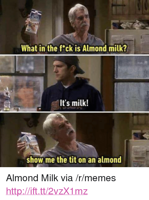 "Memes, Http, and Milk: What in the fck is Almond milk?  It's milk!  show me the tit on an almond <p>Almond Milk via /r/memes <a href=""http://ift.tt/2vzX1mz"">http://ift.tt/2vzX1mz</a></p>"