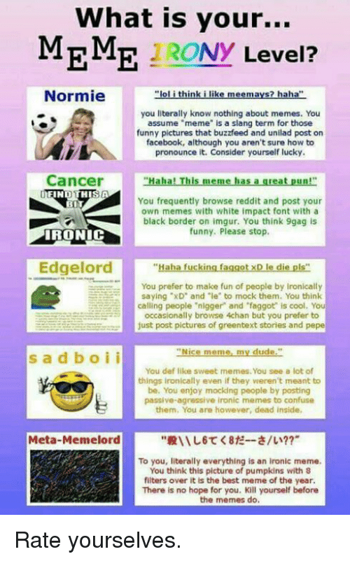 """Greentext Stories: What is your...  MEME Ny  Level?  Normie  """"lol think i like meemays? haha""""  you literally know nothing about memes. You  assume """"meme"""" is a slang term for those  funny pictures that buzzfeed and unilad post on  facebook, although you aren't sure how to  pronounce it. Consider yourself lucky.  Cancer  """"Haha! This meme has a great pun!""""  FIN  THIS A  You frequently browse reddit and post your  BIT  own memes with white impact font with a  black border on imgur. You think 9gag is  funny. Please stop.  IRONIC  Edge  """"Haha fucking faggotxD le die pls""""  You prefer to make fun of people by Ironically  saying """"xD"""" and """"le"""" to mock them. You think  calling people """"nigger and """"faggot is cool. You  occasionally browse 4chan but you prefer to  just post pictures of greentext stories and pepe  Nice meme my dude  s a d b o i i  You def like sweet mernes. You see a lot of  things ironically even if they weren't meant to  be. You enjoy mocking people by posting  passive agressive ironic memes to confuse  them, You are however, dead inside,  Meta-Meme lord  To you, literally everything is an ironic meme.  You think this picture of pumpkins with 8  filters over it is the best meme of the year.  There is no hope for you. Kill yourself before  the memes do. Rate yourselves."""