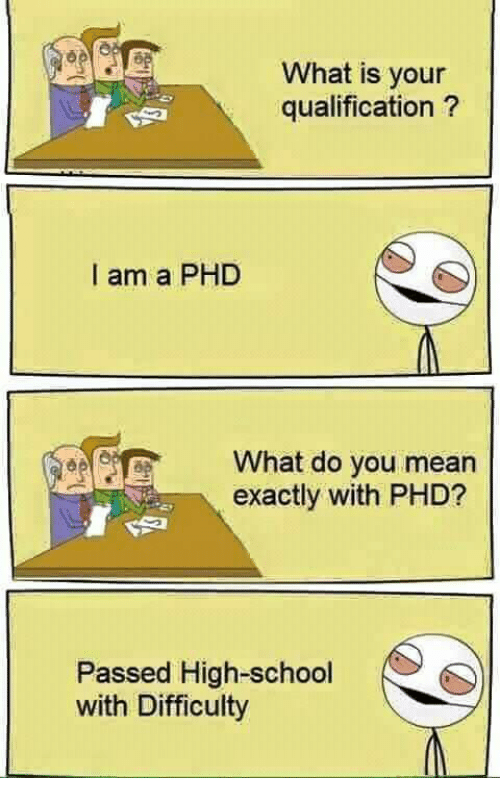 School, Mean, and What Is: What is your  qualification?  I am a PHD  What do you mean  exactly with PHD?  Passed High-school  with Difficulty