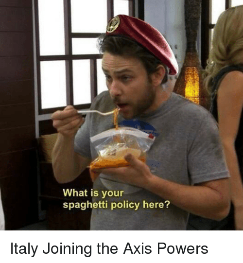 axis powers: What is your  spaghetti policy here? Italy Joining the Axis Powers
