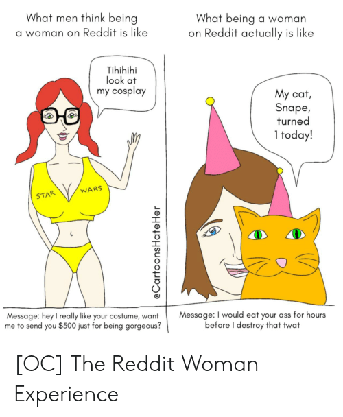 Look At My: What men think being  What being a woman  on Reddit actually is like  a woman on Reddit is like  Tihihihi  look at  my cosplay  My cat,  Snape,  turned  1 today!  WARS  STAR  Message: I would eat your ass for hours  before I destroy that twat  Message: hey l really like your costume, want  me to send you $500 just for being gorgeous?  @CartoonsHate Her [OC] The Reddit Woman Experience