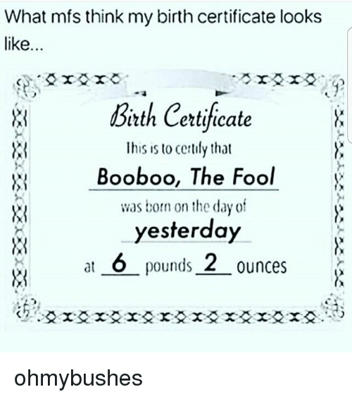 What Mfs Think My Birth Certificate Looks Like Bath Certifecate Tth ...