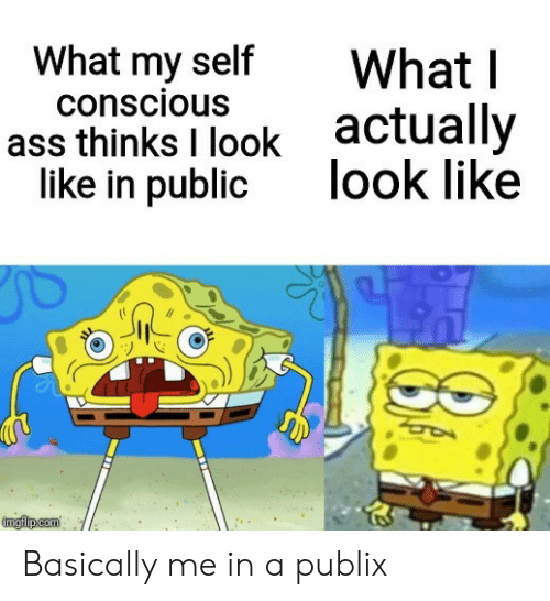 I Look Like: What my self  conscious  What I  actually  look like  ass thinks I look  like in public  imgflp.com Basically me in a publix