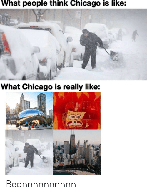 Chicago: What people think Chicago is like:  What Chicago is really like: Beannnnnnnnnn