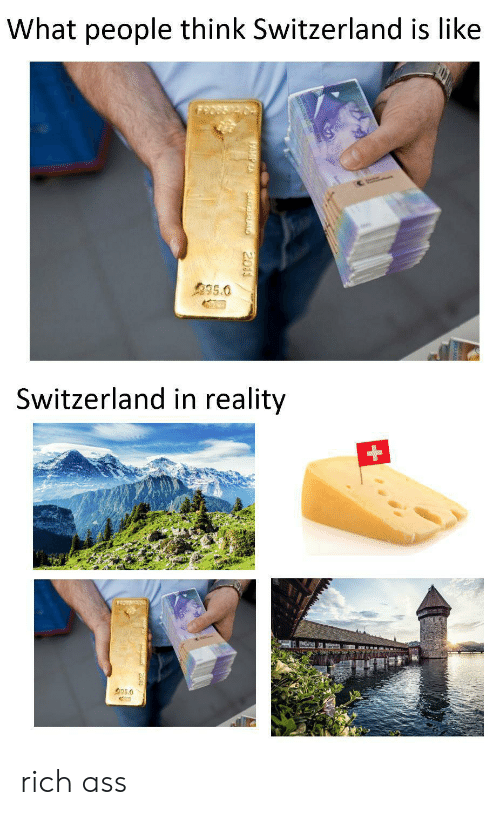 Ass, Switzerland, and Reality: What people think Switzerland is like  995.0  Switzerland in reality  35.0  SurEALAND  2011 rich ass