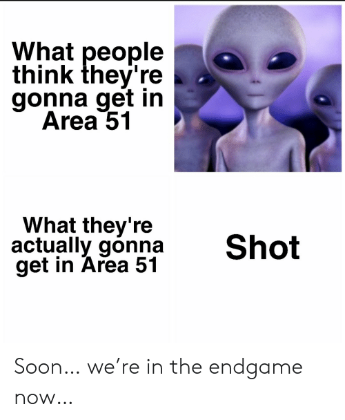 endgame: What people  think they're  gonna get in  Area 51  What they're  actually gonna  get in Area 51  Shot Soon… we're in the endgame now…