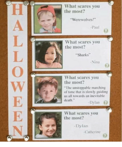 """Death, Sharks, and Time: What scares you  the most?  Werewolves!  Paul  What scares you  the most  Sharks  -Nina  What scares you  the most?  The unstoppable marching  of time that is slowly guiding  us all towards an inevitable  death.""""  Dylan O  What scares you  the most?  -Dylan  Catherine"""