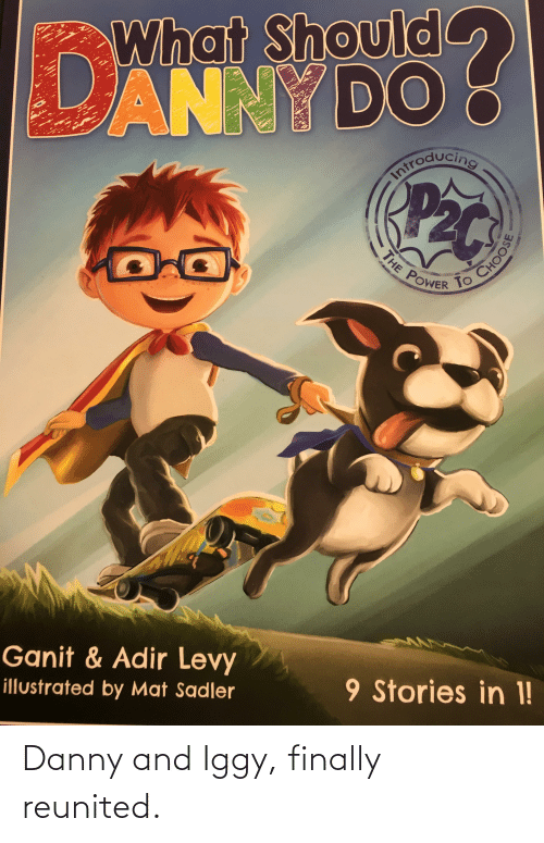 levy: What Should  ANNY DO  Pac  Iniroducing  POWER  Ganit & Adir Levy  9 Stories in 1!  illustrated by Mat Sadler  THE  CHOOSE Danny and Iggy, finally reunited.