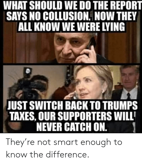 Politics, Taxes, and Lying: WHAT SHOULD WE DO THE REPORT  SAYS NO COLLUSION. NOW THEY  ALL KNOW WE WERE LYING  JUST SWITCH BACK TO TRUMPS  TAXES, OUR SUPPORTERS WILL  NEVER CATCH ON. They're not smart enough to know the difference.
