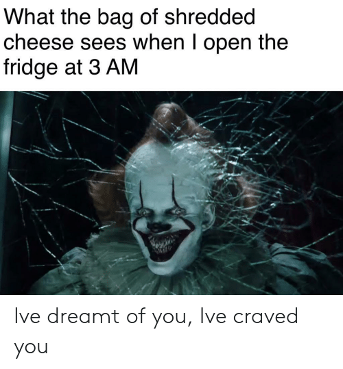 Shredded Cheese: What the bag of shredded  cheese sees when I open the  fridge at 3 AM Ive dreamt of you, Ive craved you