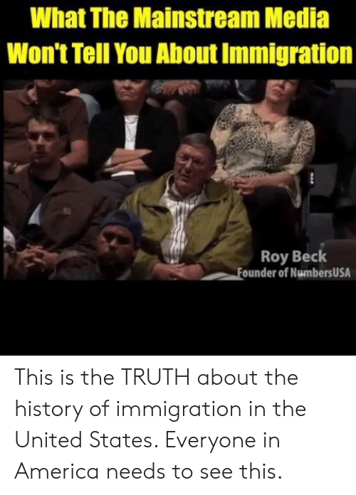 Mainstream Media: What The Mainstream Media  Won't Tell You About Immigration  Roy Beck  ounder of NumbersUSA This is the TRUTH about the history of immigration in the United States. Everyone in America needs to see this.