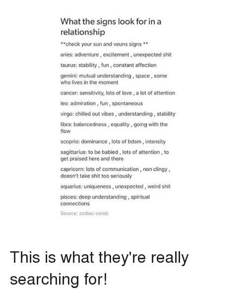 What the Signs Look for in a Relationship Check Your Sun and