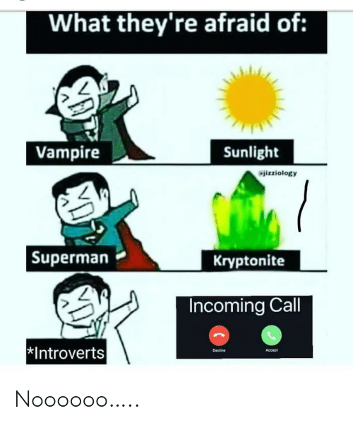 introverts: What they're afraid of:  Vampire  Sunlight  izziology  |Superman  Kryptonite  Incoming Call  *Introverts  Decine  Accept Noooooo…..