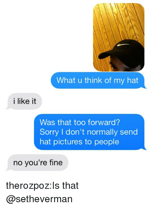 Sorry, Tumblr, and Blog: What u think of my hat  i like it  Was that too forward?  Sorry I don't normally send  hat pictures to people  no you're fine therozpoz:Is that @setheverman