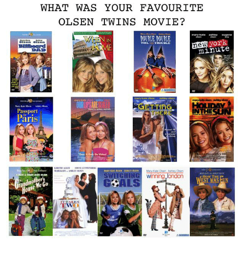 "Passport: WHAT WAS YOUR FAVOURITE  OLSEN TWINS MOVIE?  mary-kate ashley eugene  DOUELE, DOUBLE  IN  new york  DAD  minute  Passport  Päris  ER  INTHESU  On Videa  e""  SWITGHING winning,london  GCALS  How TH  ers  We  0  OU"
