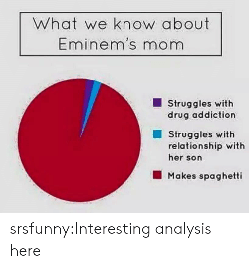 analysis: What we know about  Eminem's mom  Struggles with  drug addiction  Struggles with  relationship with  her son  Makes spaghetti srsfunny:Interesting analysis here
