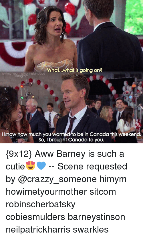 Canadã¡: What...what is going on?  owimetyourmotherthefanpage  I know how much you wanted to be in Canada this weeken  So, I brought Canada to you. {9x12} Aww Barney is such a cutie😍💙 -- Scene requested by @crazzy_someone himym howimetyourmother sitcom robinscherbatsky cobiesmulders barneystinson neilpatrickharris swarkles