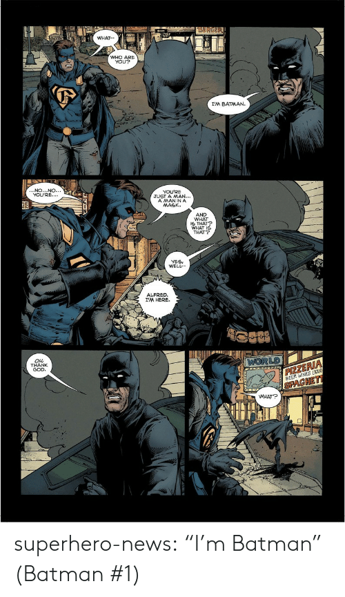 "Yesis: WHAT  WHO ARE  YOU?  I'M BATMAN.  NO...NO.  YOU'RE.  YOU'RE  JUST A MAN...  A MANINA  MASK.  AND  WHAT  S THAT  WHAT I  THAT  YESI  WELL  ALFRED  I'M HERE.  LD  OH  THANK  GOD  ZE  BEER WINES LIOU  PAGHE  WHAT? superhero-news:  ""I'm Batman"" (Batman #1)"