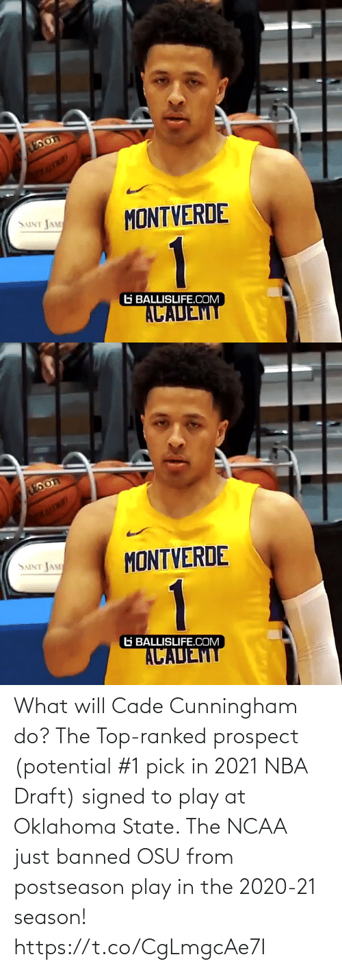 draft: What will Cade Cunningham do? The Top-ranked prospect (potential #1 pick in 2021 NBA Draft) signed to play at Oklahoma State. The NCAA just banned OSU from postseason play in the 2020-21 season! https://t.co/CgLmgcAe7I