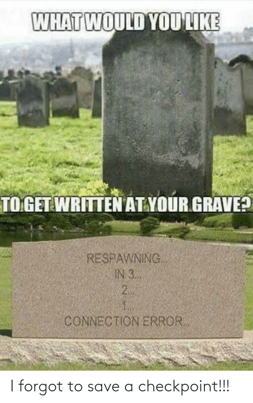 Written: WHAT WOULD YOU LIKE  TO GET WRITTEN AT YOUR GRAVE?  RESPAWNING  IN 3..  2.  CONNECTION ERROR. I forgot to save a checkpoint!!!