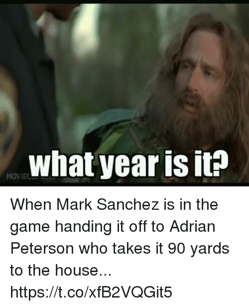Adrian Peterson, Football, and Nfl: what year is it? When Mark Sanchez is in the game handing it off to Adrian Peterson who takes it 90 yards to the house... https://t.co/xfB2VQGit5