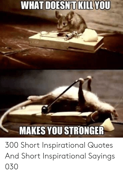 sayings: WHAT  YOU  DOESNT KILL  MAKES YOU STRONGER 300 Short Inspirational Quotes And Short Inspirational Sayings 030