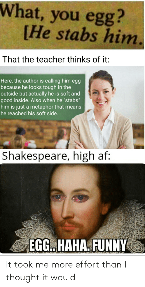 """Metaphor: What, you egg?  [He stabs him.  That the teacher thinks of it:  Here, the author is calling him egg  because he looks tough in the  outside but actually he is soft and  good inside. Also when he """"stabs""""  him is just a metaphor that means  he reached his soft side.  Shakespeare, high af:  EGG. HAHA. FUNNY It took me more effort than I thought it would"""