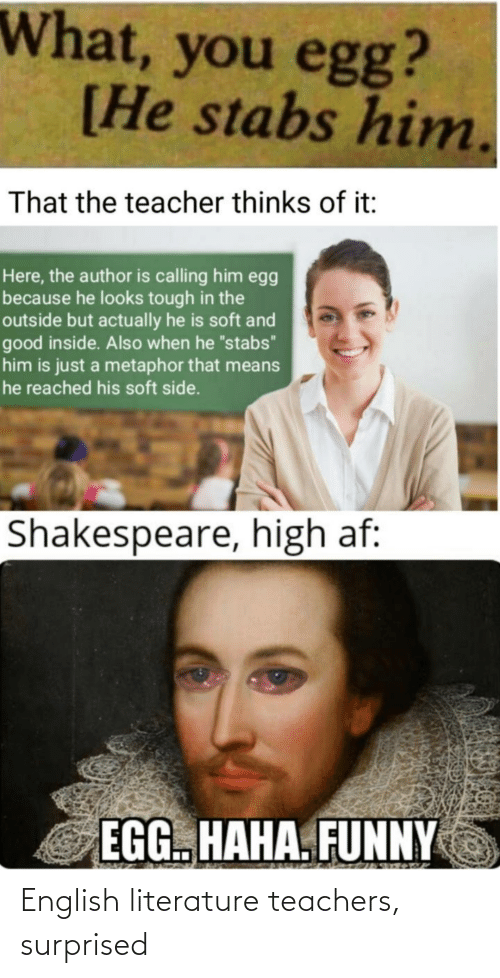 """Metaphor: What, you egg?  [He stabs him.  That the teacher thinks of it:  Here, the author is calling him egg  because he looks tough in the  outside but actually he is soft and  good inside. Also when he """"stabs""""  him is just a metaphor that means  he reached his soft side.  Shakespeare, high af:  EGG. HAHA. FUNNY  23272 English literature teachers, surprised"""