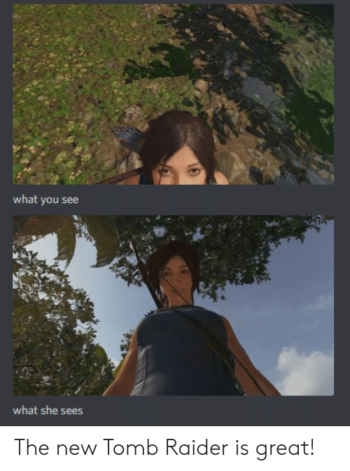 Raider: what you see  what she sees The new Tomb Raider is great!
