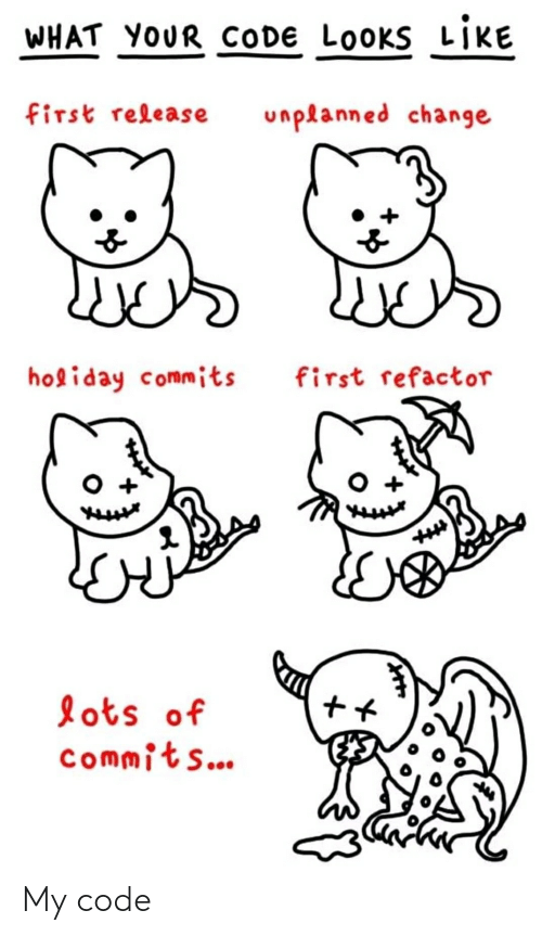 Refactor: WHAT YOUR CODE LOOKS LIKE  first release  unplanned change  holiday commits  first refactor  lots of  commits... My code