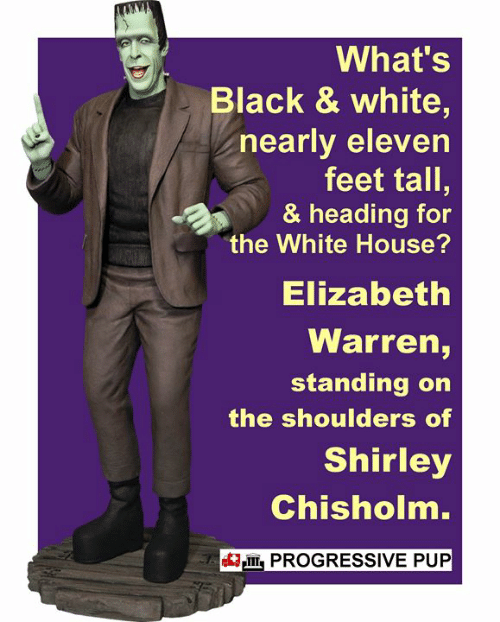 Elizabeth Warren, Memes, and White House: What's  Black & white,  nearly eleven  feet tall,  & heading for  the White House?  Elizabeth  Warren,  standing on  the shoulders of  Shirley  Chishoin.  IIIPROGRESSIVE PUP