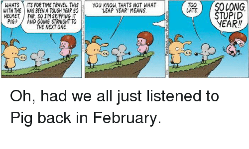 """leap year: WHATS ITS FOR TIME TRAVEL. THIS  YOU KNON, THATS NOT WHAT  WITH THE HAS BEEN A TOUGH YEAR SO  """"LEAP YEAR MEANS  HELMET FAR. SO IM SKIPPING IT  PIG  AND GOING STRAIGHT TO  THE NEXT ONE  TOO  LATE  SOLONG  STUPID Oh, had we all just listened to Pig back in February. """