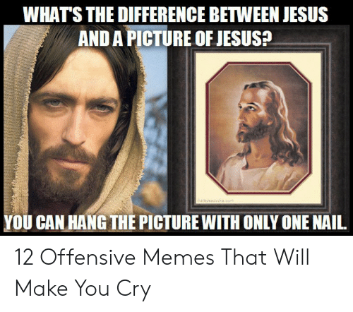 Offensive Jesus Memes: WHAT'S THE DIFFERENCE BETWEEN JESUS  AND A PICTURE OF JESUSa  YOU CAN HANG THE PICTURE WITH ONLY ONE NAIL 12 Offensive Memes That Will Make You Cry