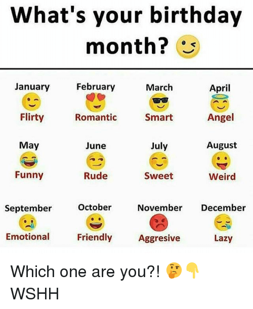 Birthday Month: What's your birthday  month?  April  Angel  August  January  February  March  Flirty  Romantic  Smart  May  June  July  Funny  Rude  Sweet  Weird  October  November December  September  Emotional  Friendly  Aggresive  Lazy Which one are you?! 🤔👇 WSHH