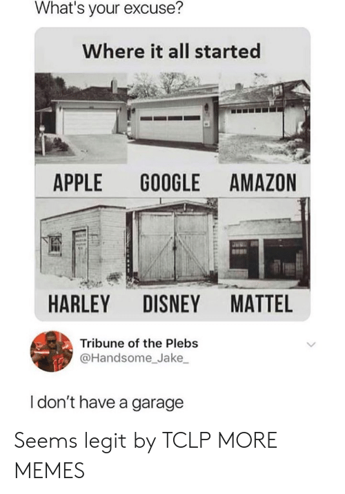 matte: What's your excuse?  Where it all started  APPLE GOOGLE AMAZON  HARLEY DISNEY MATTE  Tribune of the Plebs  @Handsome Jake  I don't have a garage Seems legit by TCLP MORE MEMES