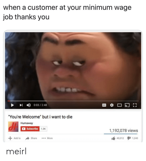 "Thanks You: when a customer at your minimum wage  job thanks you  0:03 2:48  ""You're Welcome"" but i want to die  Humaway  Subscribe 1.3K  1,192,078 views  40,012 1,240  Add to  Share  More meirl"