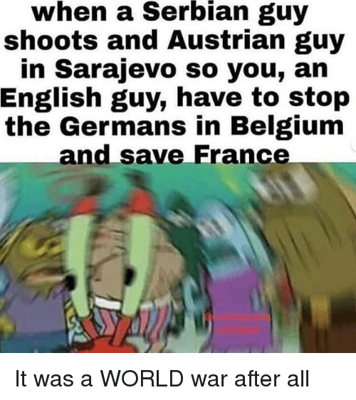 Belgium: when  a  Serbian  guy  shoots and Austrian guy  in Sarajevo so you, an  English guy, have to stop  the Germans in Belgium  and save France It was a WORLD war after all