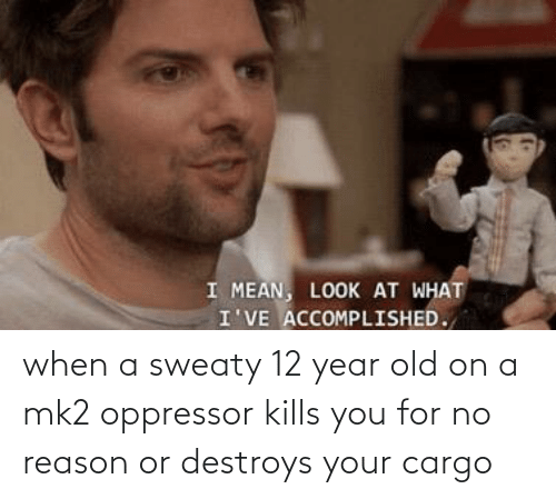 12 Year: when a sweaty 12 year old on a mk2 oppressor kills you for no reason or destroys your cargo