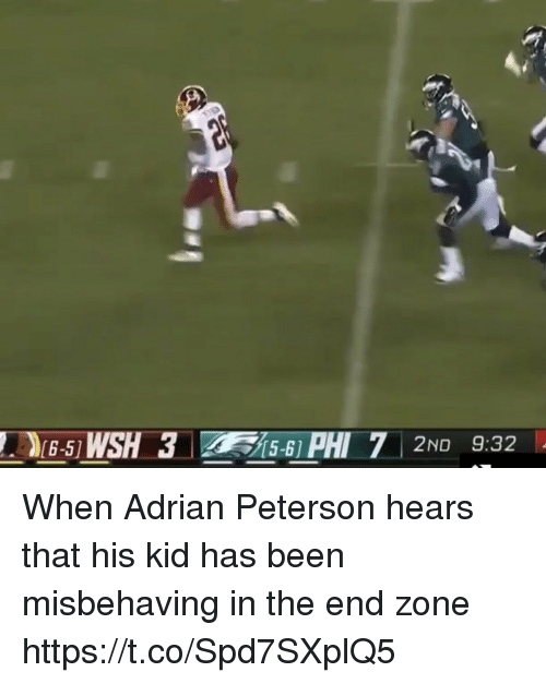Adrian Peterson, Football, and Nfl: When Adrian Peterson hears that his kid has been misbehaving in the end zone https://t.co/Spd7SXplQ5