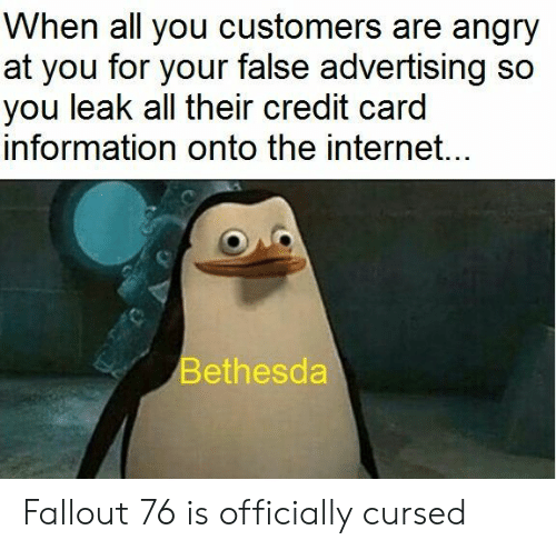 Internet, Fallout, and Information: When all you customers are angry  at you for your false advertising so  you leak all their credit card  information onto the internet...  Bethesda Fallout 76 is officially cursed