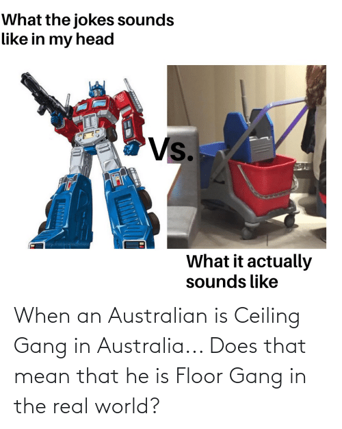 real world: When an Australian is Ceiling Gang in Australia... Does that mean that he is Floor Gang in the real world?