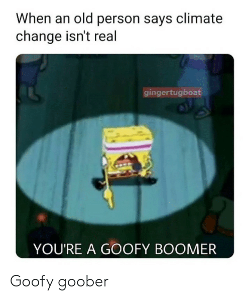 goofy: When an old person says climate  change isn't real  gingertugboat  YOU'RE A GOOFY BOOMER Goofy goober