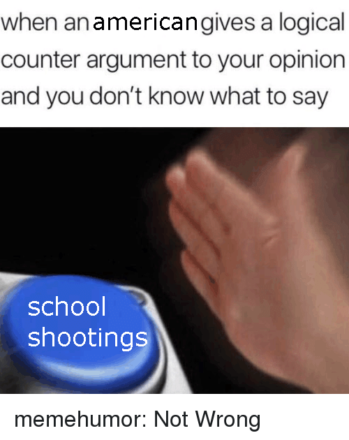 School, Tumblr, and Blog: when anamericangives a logical  counter argument to your opinion  and you don't know what to say  school  shootings memehumor:  Not Wrong