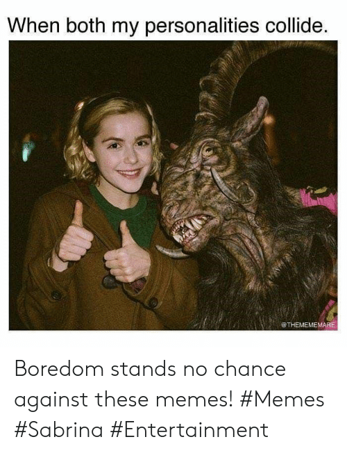 Memes, Boredom, and Entertainment: When both my personalities collide.  @THEMEMEMARE Boredom stands no chance against these memes! #Memes #Sabrina #Entertainment