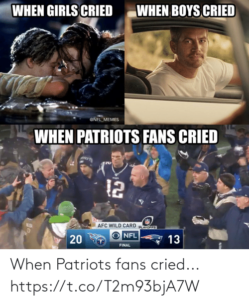 afc: WHEN BOYS CRIED  WHEN GIRLS CRIED  @NFL_MEMES  WHEN PATRIOTS FANS CRIED  12  AFC WILD CARD  PLAYOFFS  NE DIA  13  NFL  13  T)  FINAL  20 When Patriots fans cried... https://t.co/T2m93bjA7W