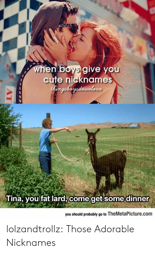 Cute, Tumblr, and Blog: when boys give you  cute nicknames  Chenguberdawelone  Tina, you fat lard, come getsome dinner  you should probably go to TheMetaPicture.com  AT lolzandtrollz:  Those Adorable Nicknames