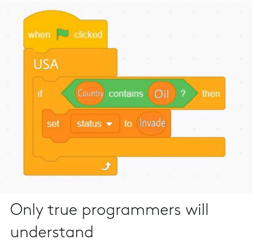True, Usa, and Set: when clicked  USA  Country contains Oilthern  set  status to (Invade Only true programmers will understand