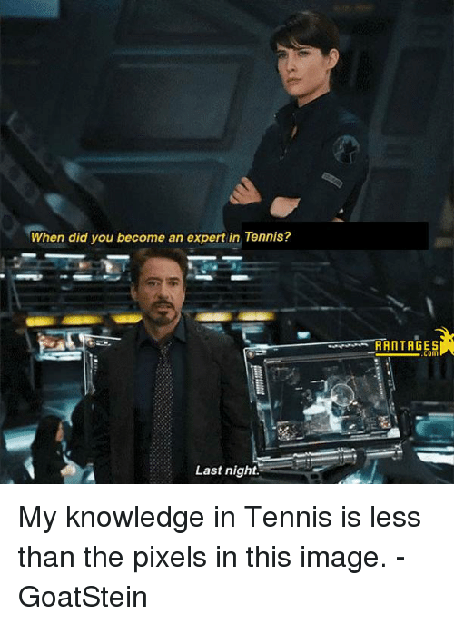 tenny: When did you become an expert in Tennis?  Last night.  RANTAGES  COM My knowledge in Tennis is less than the pixels in this image. -GoatStein