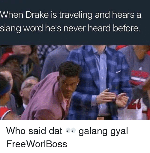 Slanging: When Drake is traveling and hears a  slang word he's never heard before. Who said dat 👀 galang gyal FreeWorlBoss